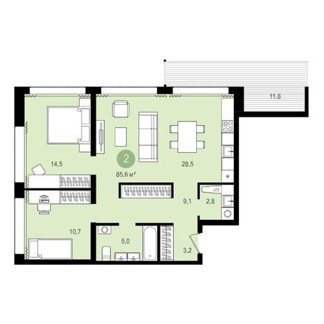 Вариант №4302, 3-комнатная квартира в жилом комплексе Пшеница