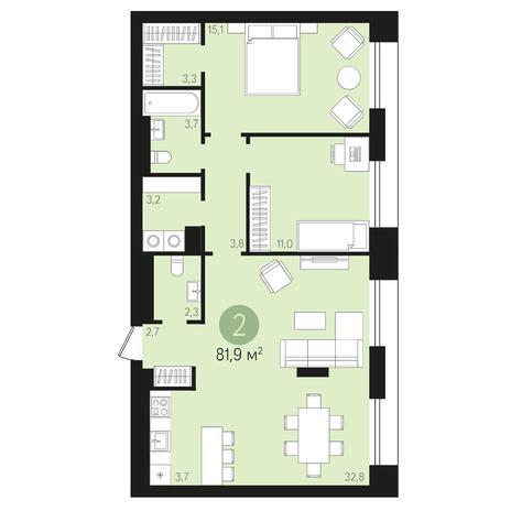 Вариант №4013, 3-комнатная квартира в жилом комплексе