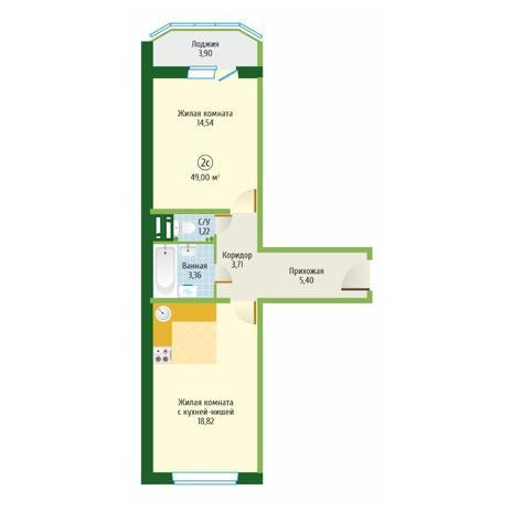 Вариант №6098, 2-комнатная квартира в жилом комплексе