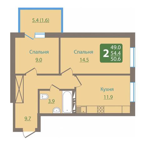 Вариант №3026, 2-комнатная квартира в жилом комплексе