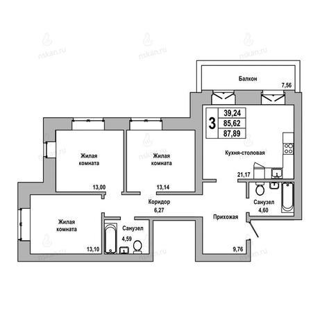 Вариант №1022, 3-комнатная квартира в жилом комплексе ГринАрт