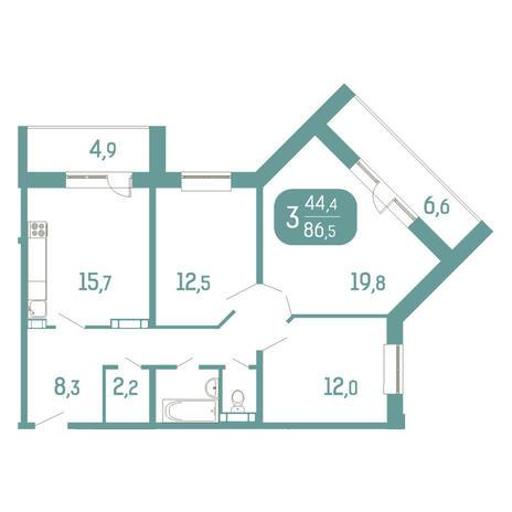 Вариант №2905, 3-комнатная квартира в жилом комплексе Аквамарин