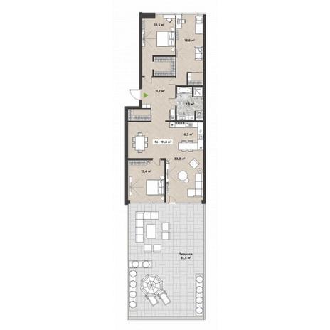 Вариант №5864, 4-комнатная квартира в жилом комплексе