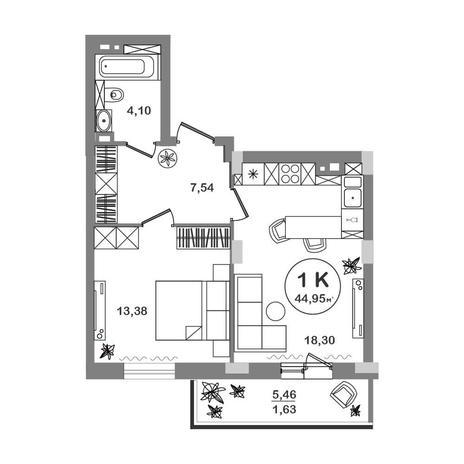 Вариант №5205, 1-комнатная квартира в жилом комплексе