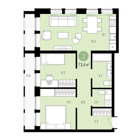Вариант №4977, 3-комнатная квартира в жилом комплексе Пшеница