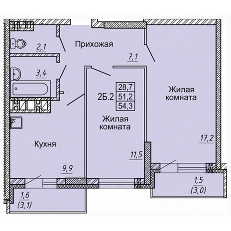 Вариант №4976, 2-комнатная квартира в жилом комплексе Матрешкин двор
