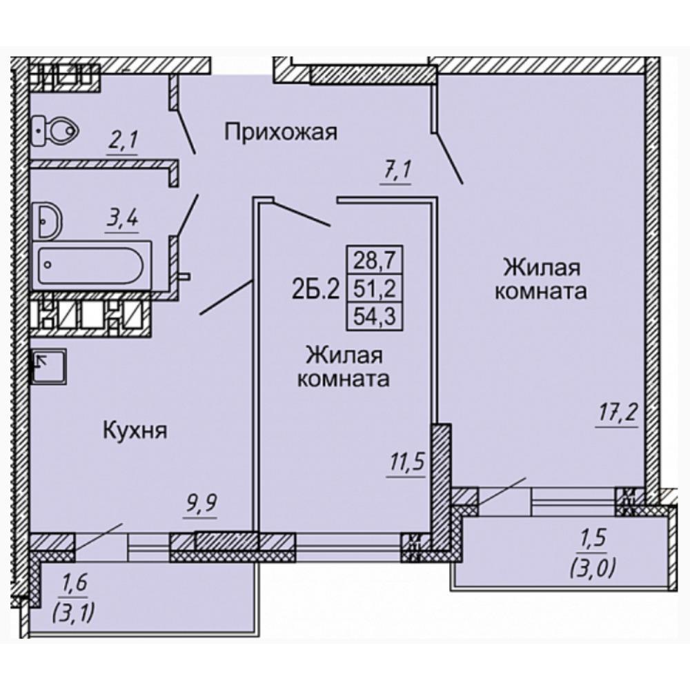 Планировка 2-комнатная площадью 54.3 м<sup>2</sup> в ЖК Матрешкин двор