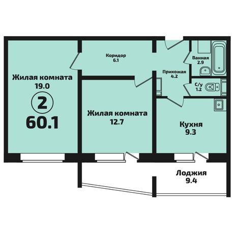 Вариант №4576, 2-комнатная квартира в жилом комплексе