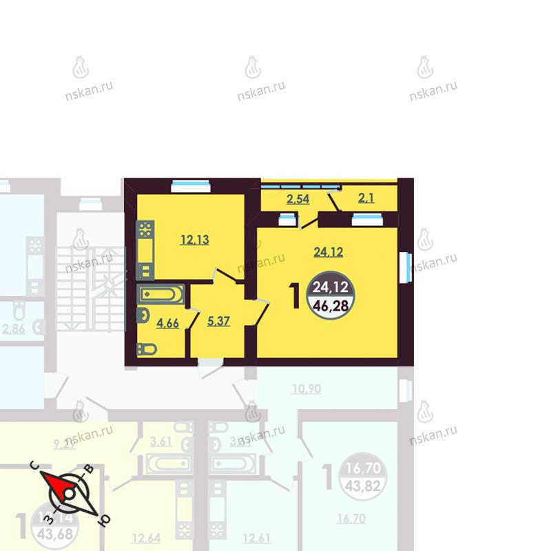 Планировка 1-комнатная площадью 46.28 м<sup>2</sup> в ЖК Ключевой