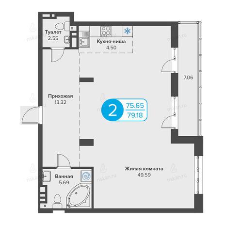 Вариант №2818, 2-комнатная квартира в жилом комплексе Огни Сибири