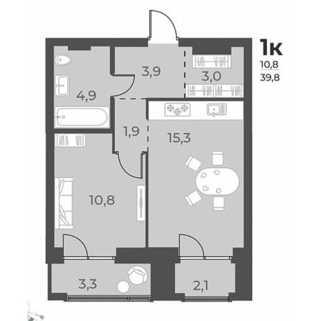 Вариант №5804, 1-комнатная квартира в жилом комплексе