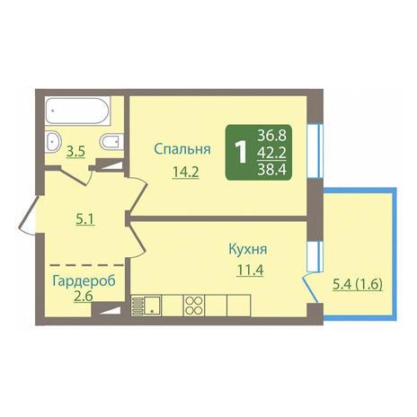 Вариант №3028, 1-комнатная квартира в жилом комплексе Новые Снегири