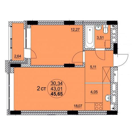 Вариант №3763, 2-комнатная квартира в жилом комплексе Романтика