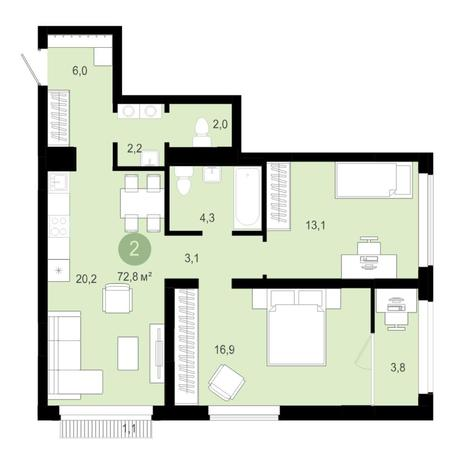 Вариант №4593, 3-комнатная квартира в жилом комплексе
