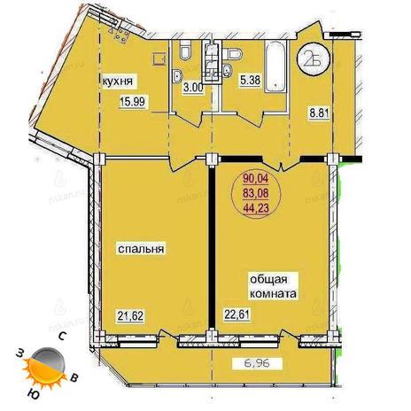 Вариант №1443, 3-комнатная квартира в жилом комплексе