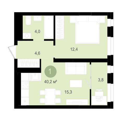 Вариант №3515, 2-комнатная квартира в жилом комплексе Лебедевский