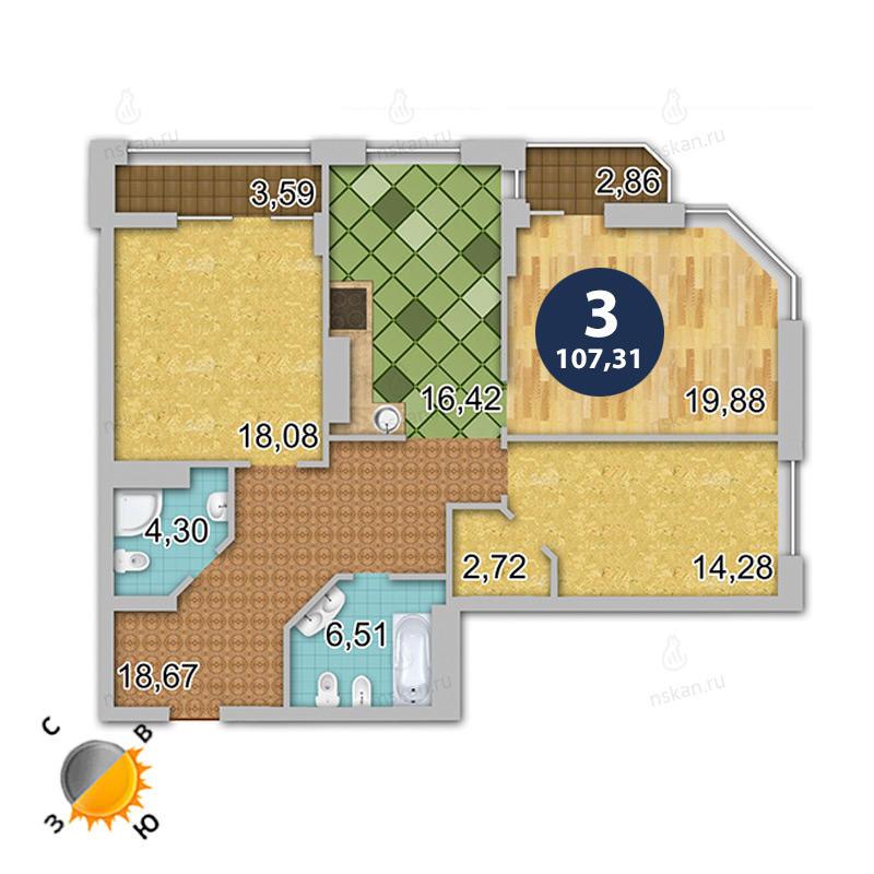 Планировка 4-комн. студия площадью 107.31 м<sup>2</sup> в ЖК Шесть звезд
