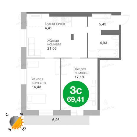 Вариант №203, 3-комнатная квартира в жилом комплексе