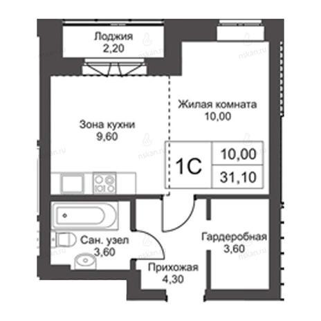 Вариант №2732, 1-комнатная квартира в жилом комплексе Эволюция