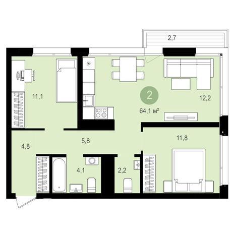 Вариант №4146, 3-комнатная квартира в жилом комплексе