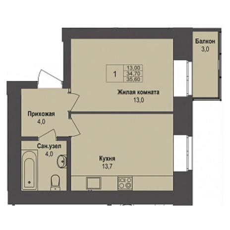 Вариант №3499, 1-комнатная квартира в жилом комплексе