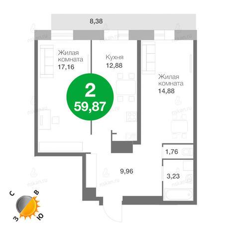 Вариант №223, 2-комнатная квартира в жилом комплексе Ясный берег