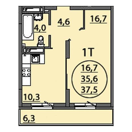Вариант №2513, 1-комнатная квартира в жилом комплексе
