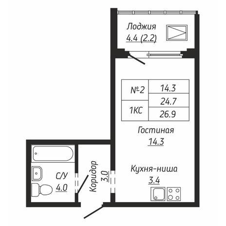 Вариант №6666, 1-комнатная квартира в жилом комплексе