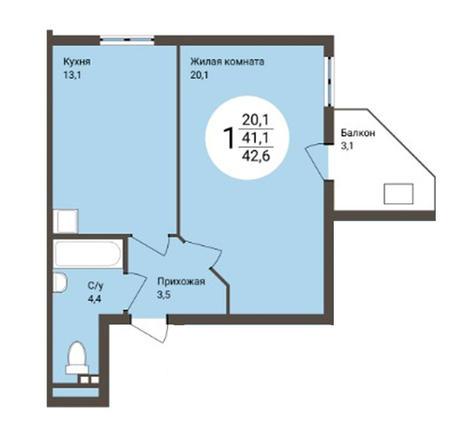 Вариант №3178, 1-комнатная квартира в жилом комплексе Новые Снегири