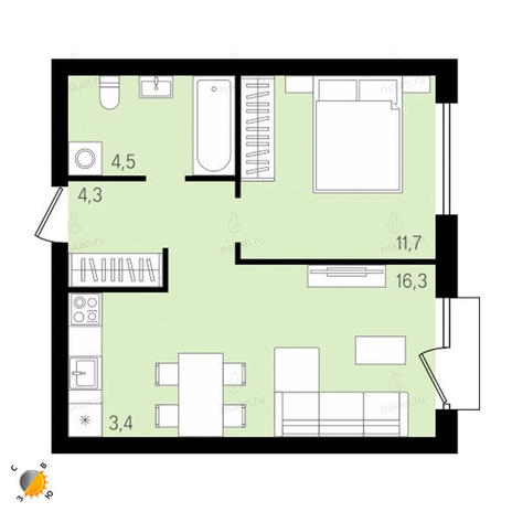 Вариант №2152, 2-комнатная квартира в жилом комплексе На Декабристов