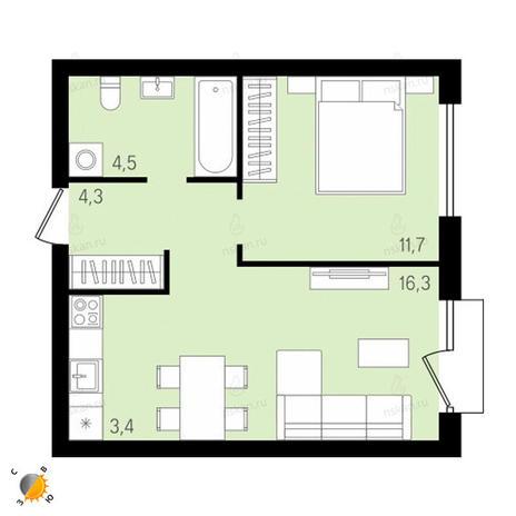 Вариант №2152, 2-комнатная квартира в жилом комплексе