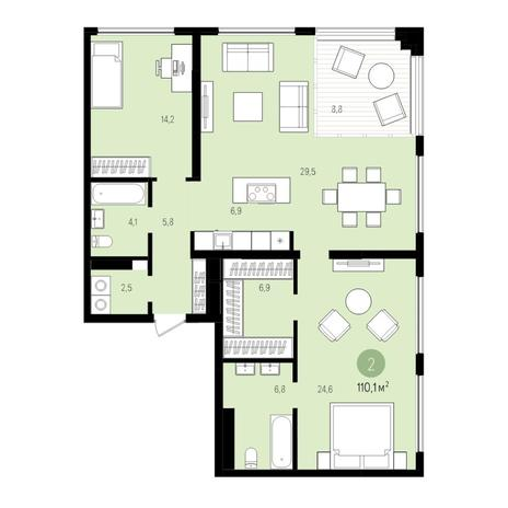 Вариант №5526, 3-комнатная квартира в жилом комплексе