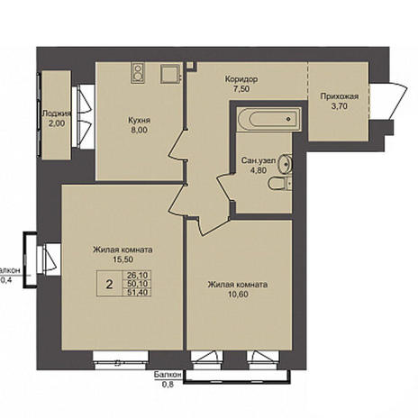 Вариант №3788, 2-комнатная квартира в жилом комплексе