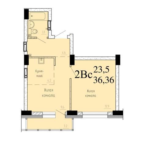 Вариант №6526, 2-комнатная квартира в жилом комплексе