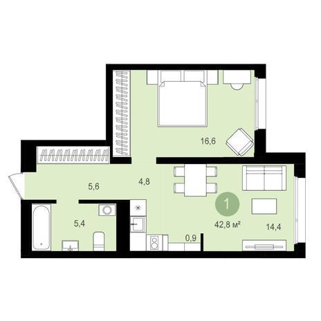 Вариант №4149, 2-комнатная квартира в жилом комплексе Авиатор