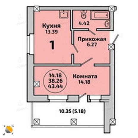 Вариант №1996, 1-комнатная квартира в жилом комплексе Приозерный