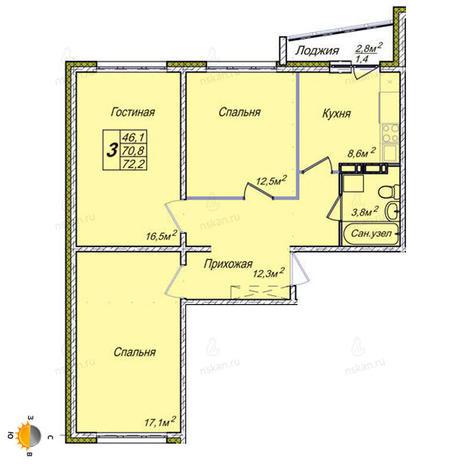 Вариант №1852, 3-комнатная квартира в жилом комплексе