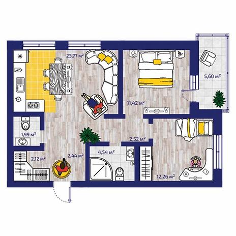 Вариант №4373, 3-комнатная квартира в жилом комплексе Новые Снегири