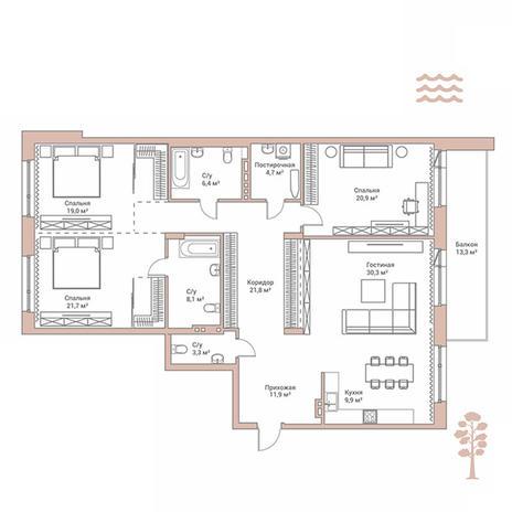 Вариант №2885, 4-комнатная квартира в жилом комплексе Flora & Fauna