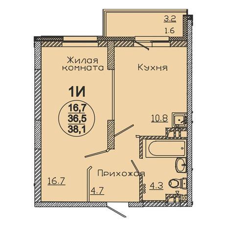 Вариант №3059, 1-комнатная квартира в жилом комплексе