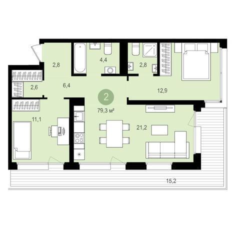 Вариант №4150, 3-комнатная квартира в жилом комплексе