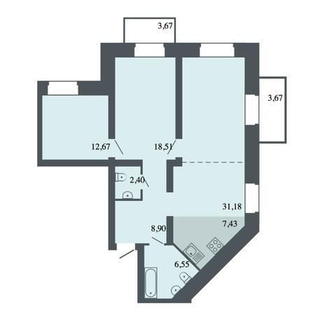 Вариант №4496, 4-комнатная квартира в жилом комплексе Спектр
