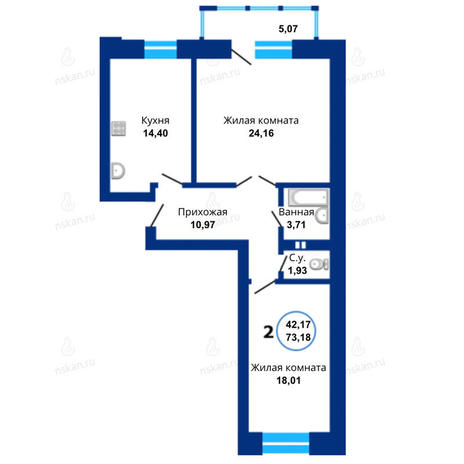 Вариант №1672, 2-комнатная квартира в жилом комплексе Бавария