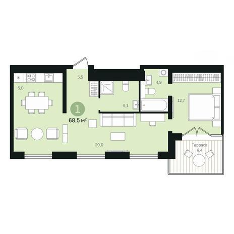 Вариант №6358, 2-комнатная квартира в жилом комплексе