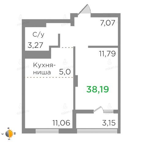 Вариант №2124, 2-комнатная квартира в жилом комплексе Ясный берег