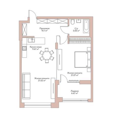Вариант №5970, 2-комнатная квартира в жилом комплексе