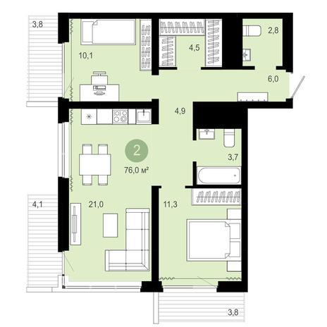 Вариант №4093, 3-комнатная квартира в жилом комплексе Европейский Берег