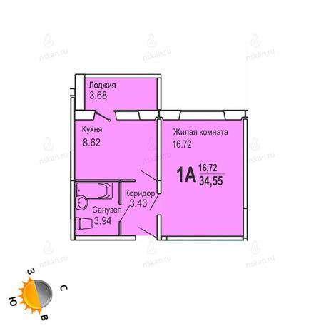 Вариант №725, 1-комнатная квартира в жилом комплексе Софийский квартал