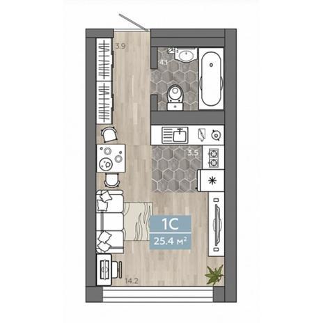 Вариант №4531, 1-комнатная квартира в жилом комплексе