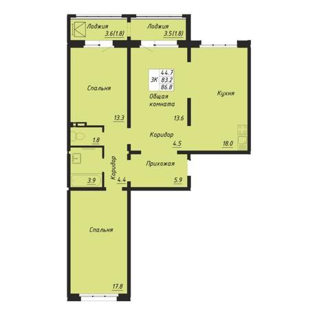 Вариант №5250, 3-комнатная квартира в жилом комплексе Галактика